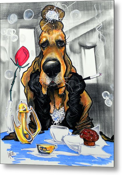 Breakfast At Tiffany's Basset Hound Caricature Art Print Metal Print
