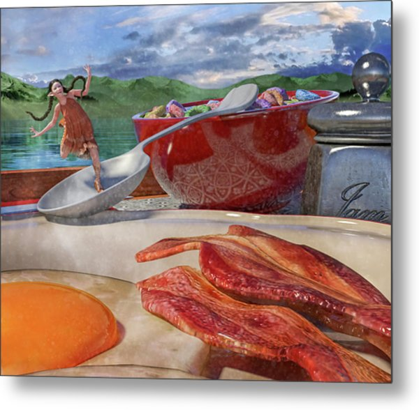 Breakfast Beeline To Bacon Metal Print