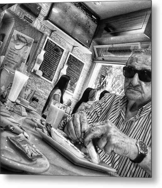 Breakfast Time  #man #eat #food #bar Metal Print