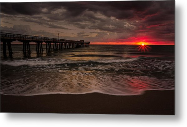 Breaking Waves At The Pier Metal Print