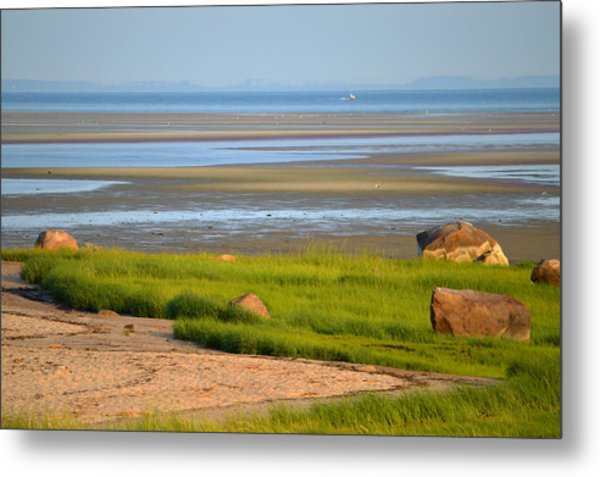Breakwater Beach At Low Tide Metal Print
