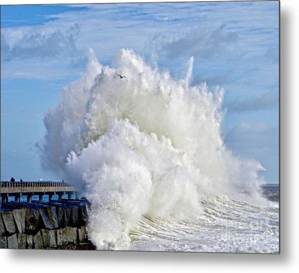 Breakwater Explosion Metal Print