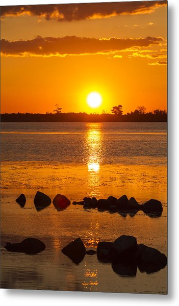 Breakwater Sunset Metal Print