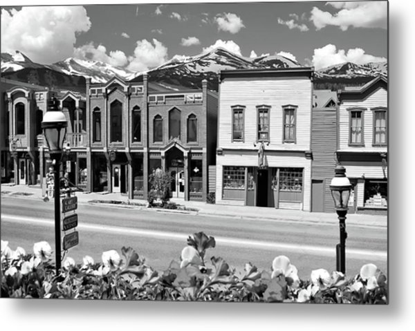 Metal Print featuring the photograph Breckenridge Colorado Mountains Black And White - Ski Town by Gregory Ballos