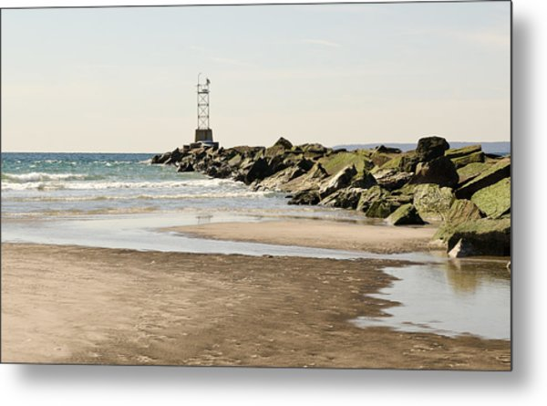 Breezy Point Jetty With Pools Metal Print