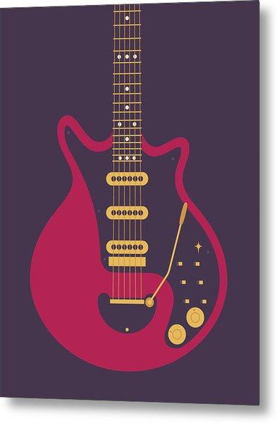 Red Special Guitar - Black Metal Print