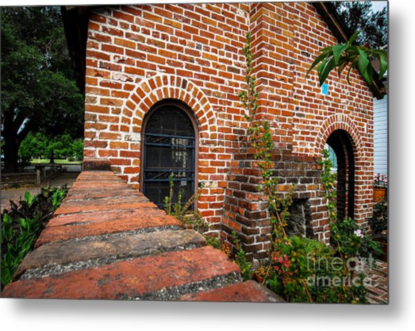 Brick Courtyard Metal Print
