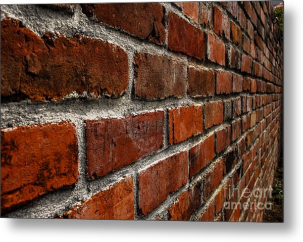 Brick Wall With Perspective Metal Print