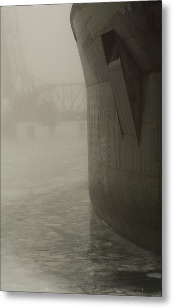 Bridge And Barge Metal Print