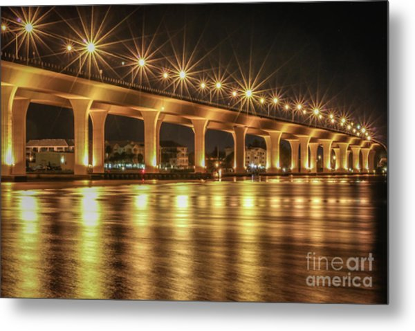 Bridge And Golden Water Metal Print