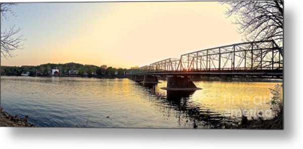 Bridge And New Hope At Sunset Metal Print
