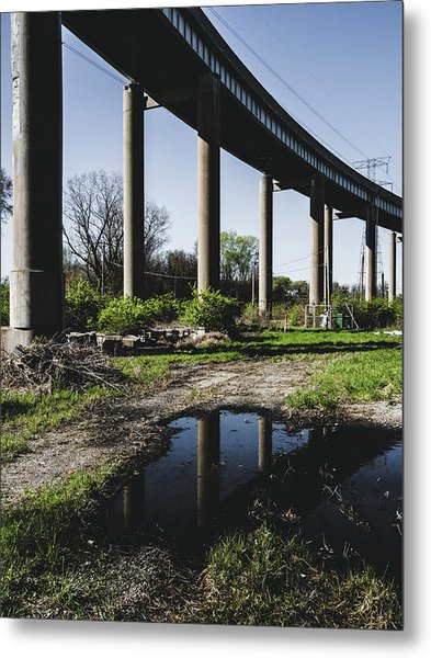 Bridge And Puddle Metal Print by Dylan Murphy