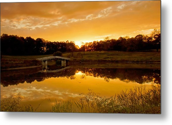 Bridge At Sundown Metal Print by Keith Bridgman
