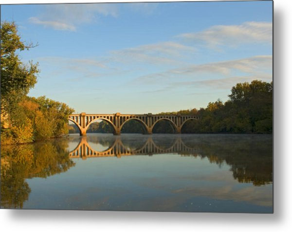 Bridge At Sunrise Metal Print by John Magor