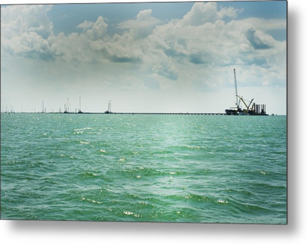 bridge construction in Kerch, Crimea Metal Print