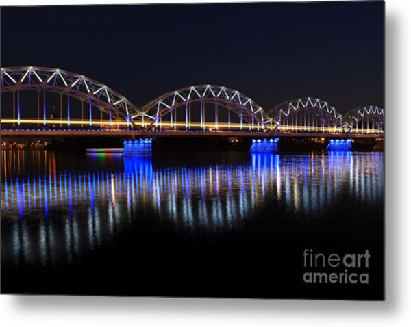 Bridge In Riga  Metal Print