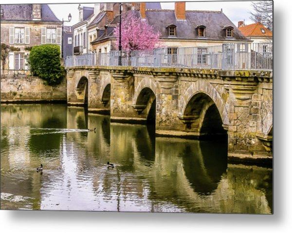 Bridge In The Loir Valley, France Metal Print