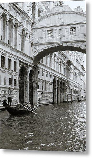 Bridge Of Sighs And Gondola, Venice, Italy Metal Print