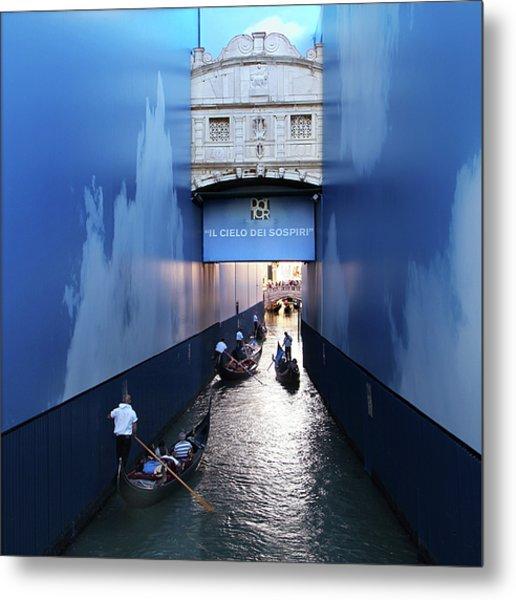 Bridge Of Sighs Wrapped In Blue Metal Print