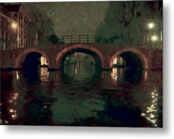 Bridge Over Amsterdam Canals Metal Print