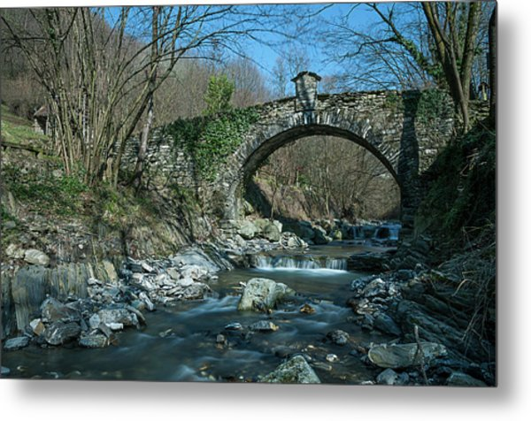 Metal Print featuring the photograph Bridge Over Peaceful Waters - Il Ponte Sul Ciae' by Enrico Pelos