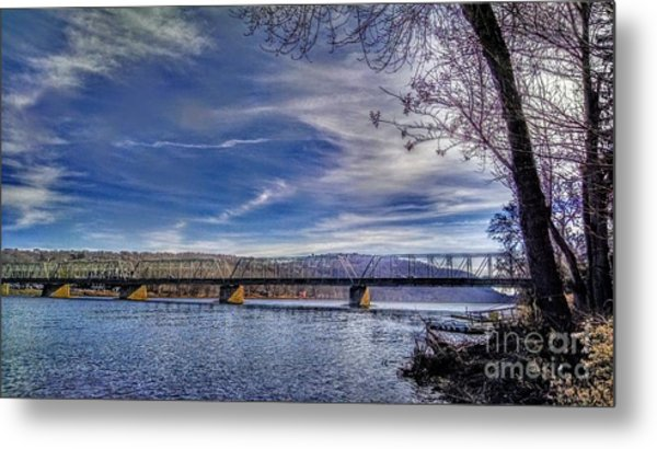Bridge Over The Delaware River In Winter Metal Print