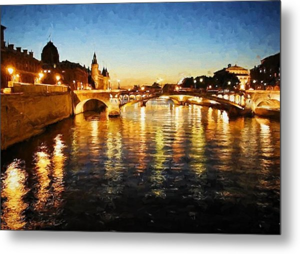 Bridge Over The Seine Metal Print