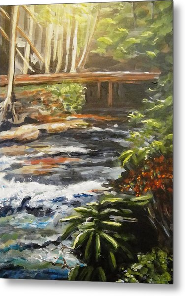 Bridge Over The Trout Stream Metal Print