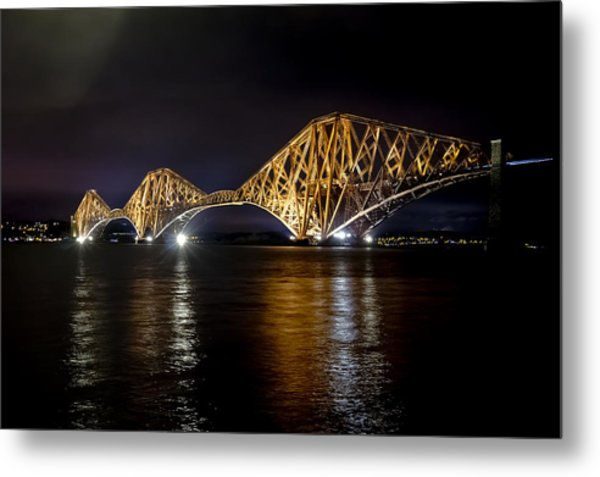 Bridge Over Water Lights. Metal Print