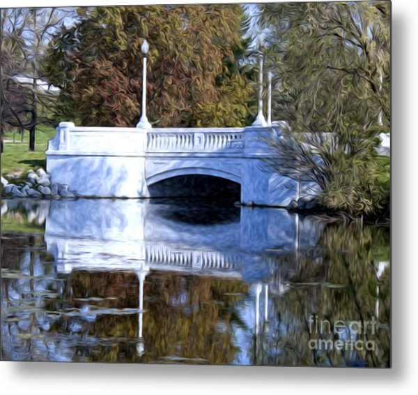Bridge Reflection Metal Print