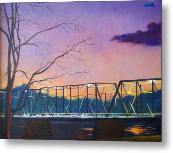 Metal Print featuring the painting Bridge Sunset by Robert Henne