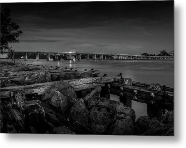 Metal Print featuring the photograph Bridge To Longboat Key In Bw by Doug Camara