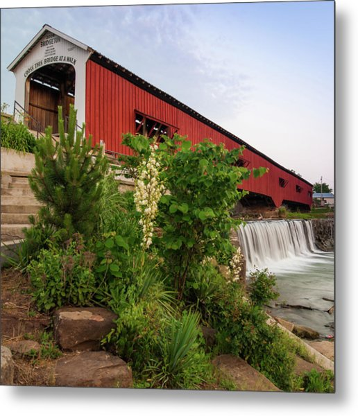 Bridgeton Covered Bridge - Indiana Square Art Metal Print by Gregory Ballos