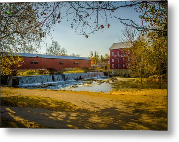 Bridgeton Mill Covered Bridge Metal Print