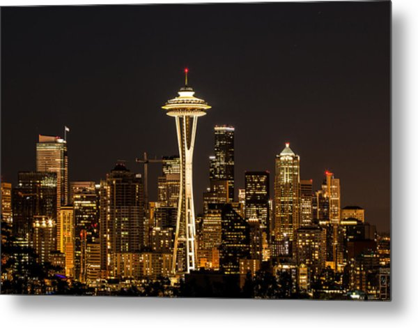 Bright At Night - Space Needle Metal Print