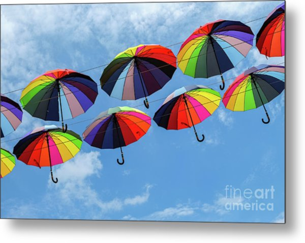 Bright Colorful Umbrellas  Metal Print