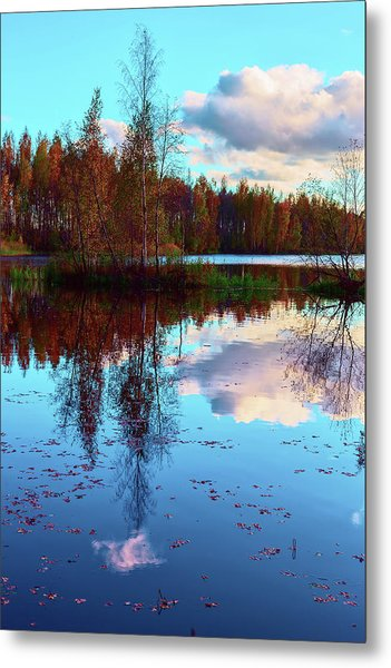 Bright Colors Of Autumn Reflected In The Still Waters Of A Beautiful Forest Lake Metal Print