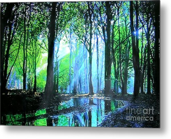 Bright Light In Dark Wood Metal Print
