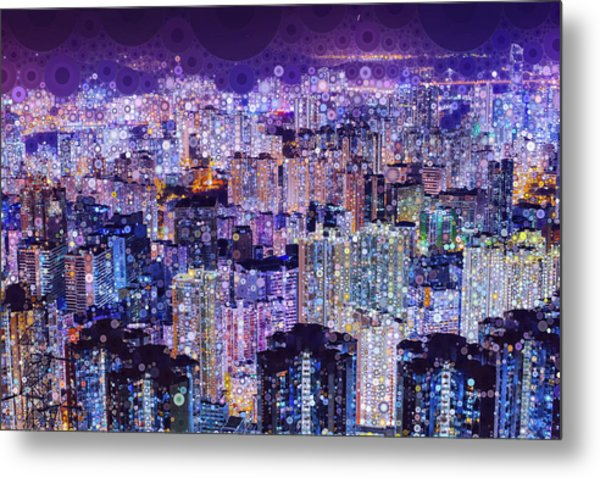 Metal Print featuring the mixed media Bright Lights, Big City by Susan Maxwell Schmidt