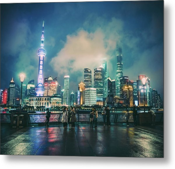 Bright Lights Of Pudong Metal Print