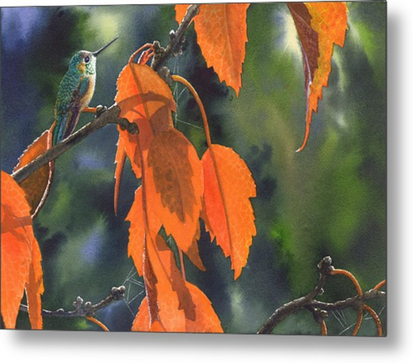 Bright Orange Leaves Metal Print