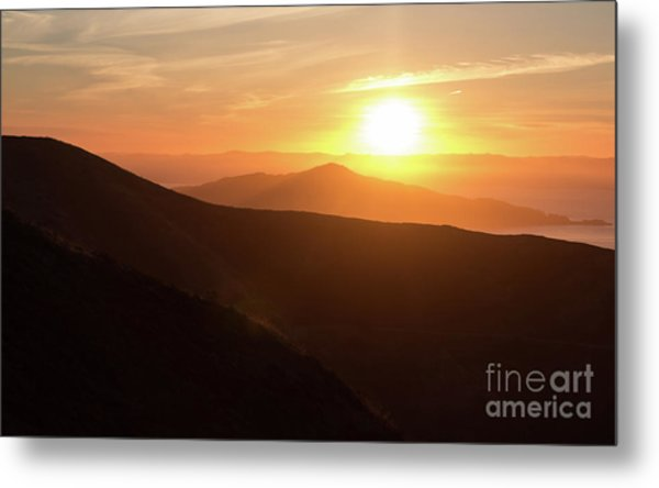 Bright Sun Rising Over The Mountains Metal Print