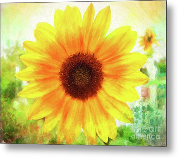 Bright Yellow Sunflower - Painted Summer Sunshine Metal Print