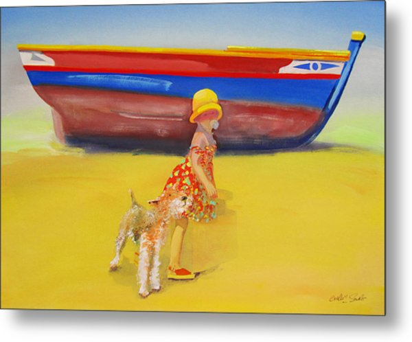 Brightly Painted Wooden Boats With Terrier And Friend Metal Print