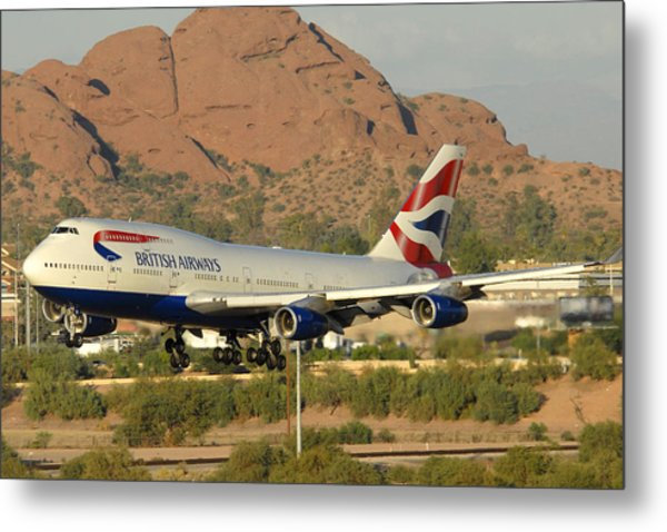 British Airways Boeing 747-436 G-civa Phoenix Sky Harbor October 26 2010 Metal Print