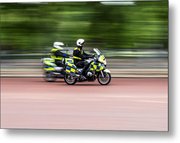 British Police Motorcycle Metal Print