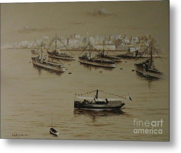 British Warships In Malta Harbour 1941 Metal Print