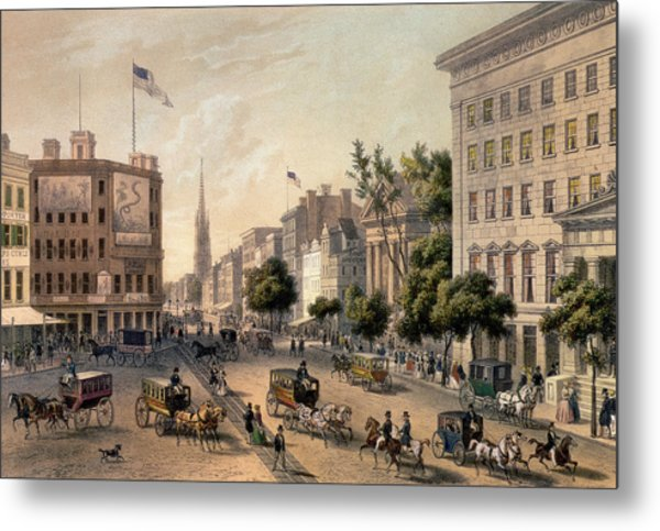 Broadway In The Nineteenth Century Metal Print