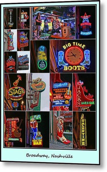 Broadway, Nashville - Collage # 2 Metal Print