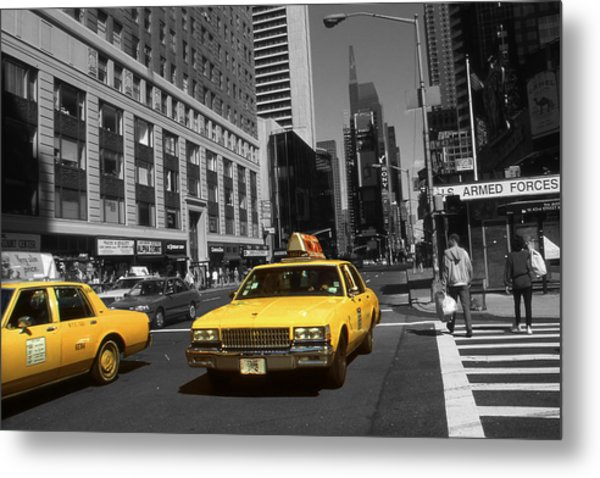 New York Broadway - Yellow Taxi Cabs Metal Print